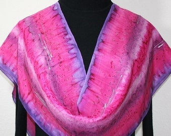 Silk Scarf Hand Painted in Pink Lavender Fuchsia PINK LOVE. Size 11x60.Hand Dyed Silk Scarf. Birthday Gift. Bridesmaid Gift