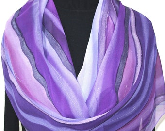 Silk Scarf Handpainted. Lavender, Purple Hand Painted Shawl. Handmade Wrap PURPLE RIVERS. Large 14x72. Bridesmaid, Mother Gift. Gift-Wrapped