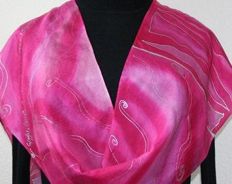 Pink, Lavender Hand Painted Silk Scarf PINKY SWEAR. Size 11x60. Silk Scarves Colorado. Elegant Silk Gift, Birthday Gift,  Anniversary Gift