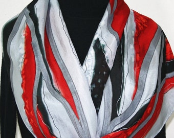 Silver Grey Silk Scarf. Hand Painted Silk Shawl. Hand Dyed Scarf CRIMSON MOUNTAINS. Holidays Gift. Gift-Wrapped. Offered in Several SIZES.