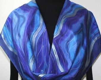 Silk Scarf Hand Painted Silk Shawl, Purple Blue Hand Dyed Silk Scarf PURPLE DESERT, Large14x72, Birthday Gift , Anniversary Gift.