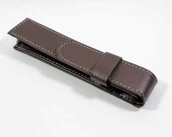 Brown Leatherette Single Pen Case