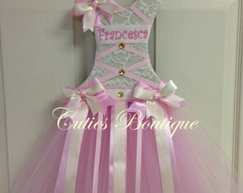 Tutu Dress Hair Bow Holder Baby Pink Ivory--Personalized
