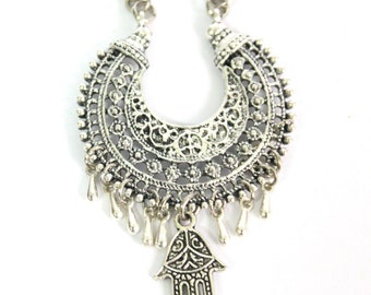 Unique Ethnic silver crescent half moon basket shape dangle Hamsa charm Boho bride layering necklace Tribal Gypsy designed by Inali