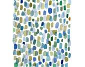 Abstract watercolor painting Rain, Watercolor print, Watercolor art Giclee, large watercolor print,  blue green dots, abstract painting
