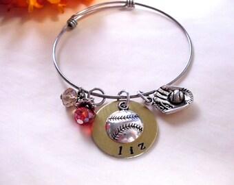 Personalized Baseball Bracelet, Baseball Jewelry, Sports Jewelry, Hand Stamped Jewelry, Stainless Steel Bangle