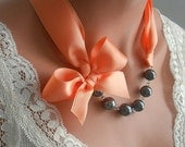 Peach necklace, black and peach, ribbon pearl necklace, peach wedding, flower girl necklace, bridesmaids necklace