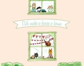 Breaking Cat News Print - Cats Make A House A Home 8 x 10 in print