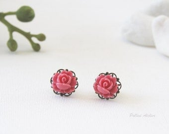 Vintage Petite Rose Stud Earrings. Salmon Red. Bridesmaid Gift. Gift For Her (VER-73)