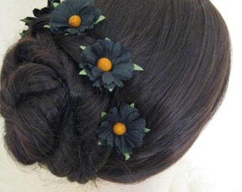 Hair Pins x 5. Black Daisy. Bridal, Regency, Victorian. Gothic. SteamPunk