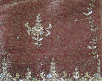 Regency Dress, Court Robe. Jane Austen. CUSTOM MADE  Red/Gold SILK Tissue. Gilt hand embroidery/beading.