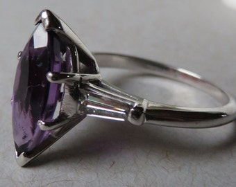 Classic Late 40's Royal Amethyst Marquise and Baguette Diamond Platinum Ring