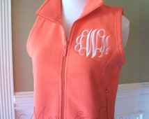 Monogrammed Fleece Vest, Women's sizes, bright colors, personalized or greek
