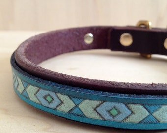 Tooled Leather Southwest Chevron Collar-Made-to-Order