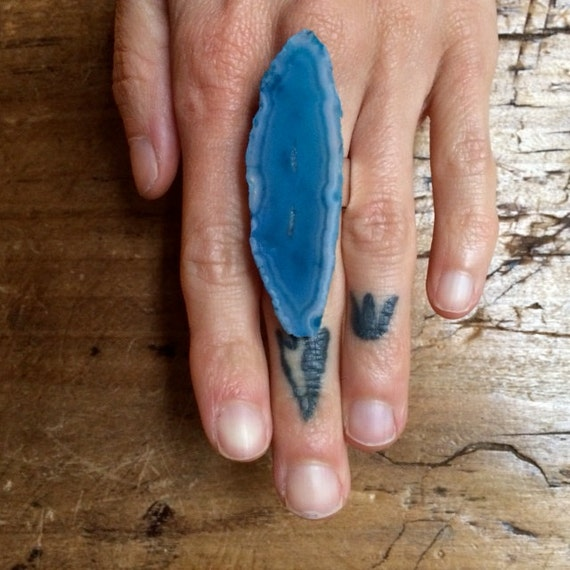 Turquoise Agate Ring - with Silver Adjustable Band