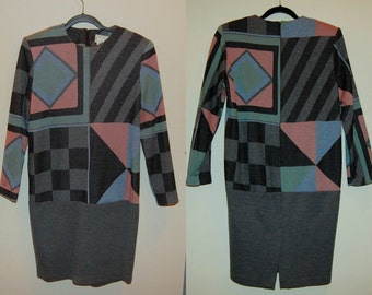M Vintage 80s Short Geometric Dress