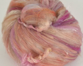 Cormo Art Batt with Wensleydale Locks for Spinning and Felting Fiber Fleece Wool Textured- Sizzle