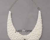 New Fashion Women Lady Pearl Design Bib Collar Statement Choker Short Necklace