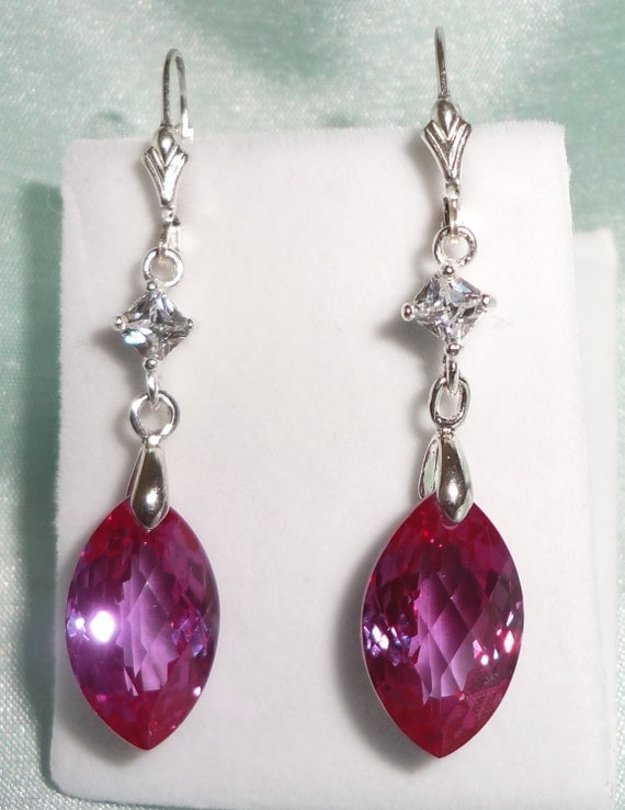 25cts RUSSIAN Marquise Color Change Alexandrite stones, SOLID Silver leverback Pierced Earrings