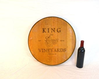 "BARREL ART - ""Custom Engraved"" - Personalized Wine Barrel Head - 100% Recycled"