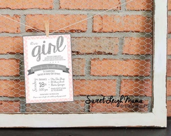 Sprinkle Shower Invitation - Baby Girl - Baby Sprinkle - Pink and Silver - Pink and Gray - Customize - Printable -  Invitation - Glitter