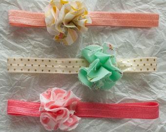 Baby or Toddler Headband Set. Fabric Flower. One Size Elastic