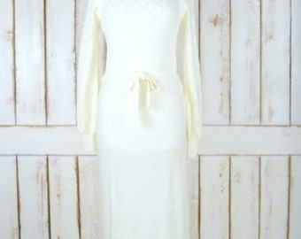 70s vintage light ivory nubby crochet knit long sleeve maxi dress/long ivory knit dress/small/medium