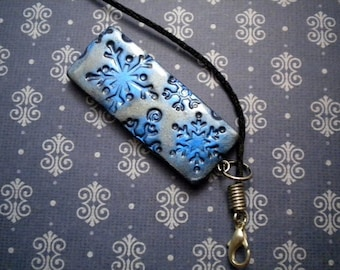 Metallic Snowflake Pendant Necklace - Choose Your Color - Polymer Clay