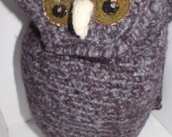 Henry Owl Large shoulder / duffle / across body bag rich heather tones handmade in pure real wool