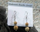 Brown tan picture jasper earrings graduated size semiprecious stone jewelry packaged  in a colorful gift bag 2594  B