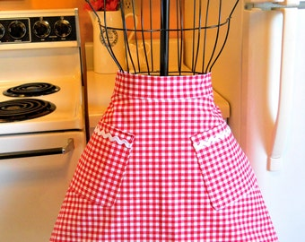 Womens Vintage Style Half Apron in Red Checks MADE TO ORDER