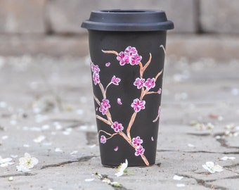 Cherry Blossoms Black Travel mug - Made to Order - Hand Painted sakura porcelain eco-cup - Mothers Day Gift - Silicon lid