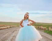 Full Length Tutu -  Girls Long Tutu - SEWN tutu- Christmas tutu - Holiday tutu - Full length tulle skirt - white tutu - flower girl tutu