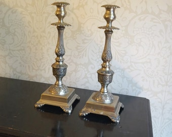 Pair of Antique Vintage Silver Metal Ornate Candle Stands Candle Holders