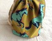 medium knitting project bag shawl sack - plaid mustang