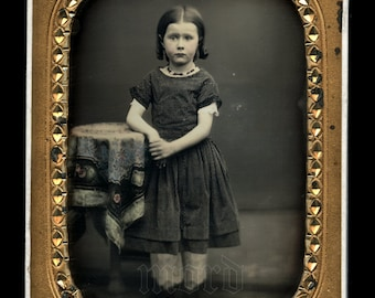 Beautiful 1/4 1850s Tinted Daguerreotype of a Little Girl