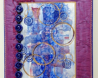Mixed Media Collage Art, Fiber Art, Small Mixed Media Quilt, Wall Art,  Blue Gold Purple, Quiltsy Handmade