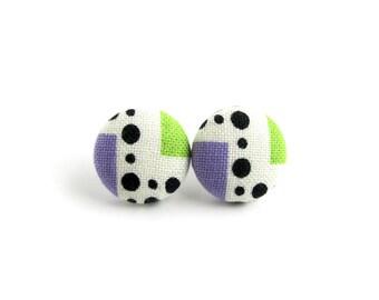 Geometric button earrings - funky fabric earrings - tiny stud earrings - purple green black white