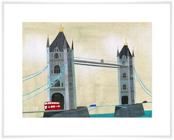 London's Tower Bridge Art Print // Architecture Illustration