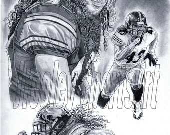 Troy Polamalu of Pittsburgh Steelers Art Poster