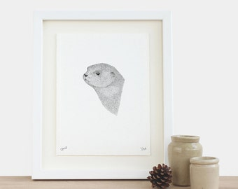 On The Riverbank - otter head face limited edition A5 small print birthday mothers fathers day Christmas gift idea