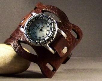 Gift For Women-Birthday Gift-Gift Best Friend-Wedding Gift-Unique Watch-Vintage Watch-Leather Jewelry-Brown Cuff