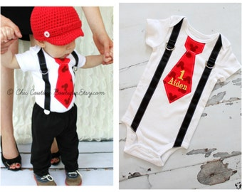 Personalized Mickey Mouse Birthday Tie and Suspender One Piece Bodysuit.  Baby Boy First Birthday Party Outfit Disney Style Clothing.