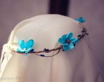 Boho Hippie Spring Blue Crown Tiara with Flowers and seeds Romanthic pre raphaelite