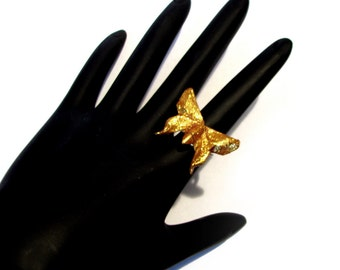 Butterfly Ring Gold Shimmer Origami Butterfly Ring Adjustable