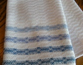 Kitchen Towel Blue and White Handwoven, Twill Towel, Chef Towel, Tea Towel, Basket Liner, Hand Towel, Bath Towel, Woven Towel, Guest Towel