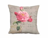 Robier Rose French Cottage Pillow Cover - Pink Flower Pillow - 12x12 14x14 16x16 18x18 20x20 22x22 24x24 26x26 Inch Linen Cotton Cushion