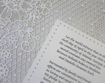 LACE papercut ketubah / wedding vows