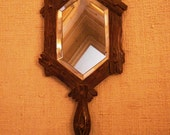 French antique BLACK FOREST hand MIRROR carved wood
