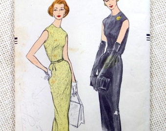 Vogue 9027 Vintage sewing Pattern 1950s Bust 32 sleeveless sheath Dress retro Bombshell pinup Rockabilly body con vlv